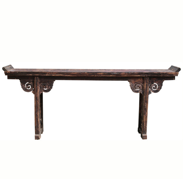 Antique Chinese Altar with Carved Bat Panel Legs - Dyag East