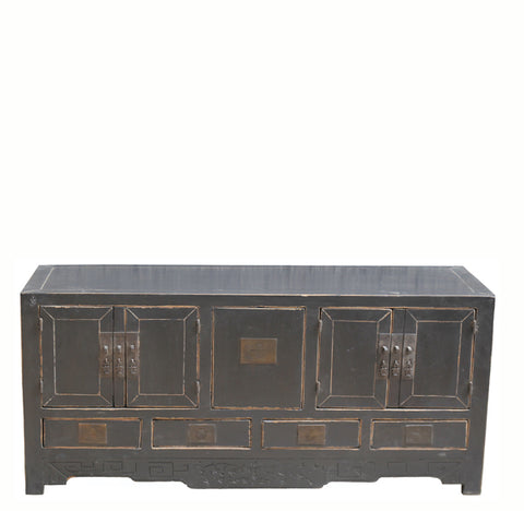 Two Compartments and Five Drawers Black Sideboard - Dyag East