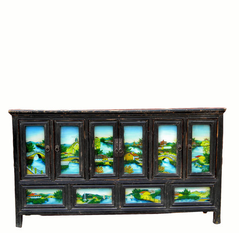 Hand Painted Glass Doors Wedding Sideboard - Dyag East