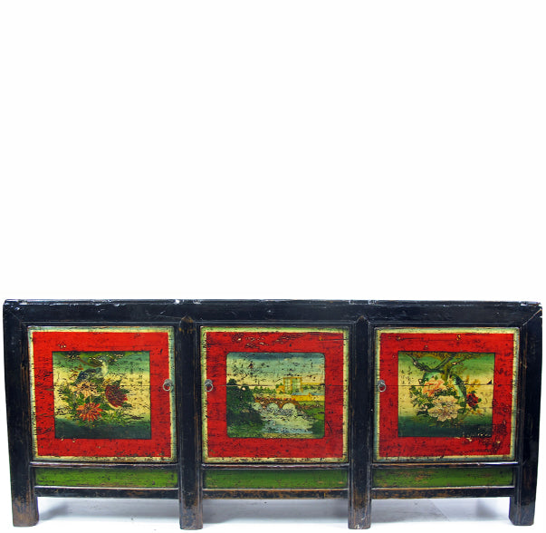 "83"" Long Antique Hand Painted Gansu Sideboard"