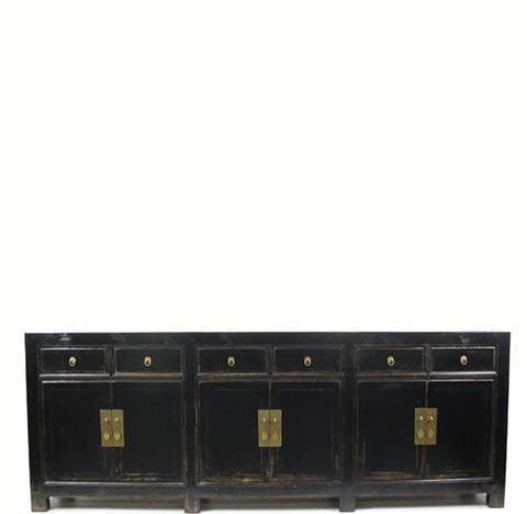 "Distressed Antique Black 95"" Long Sideboard Buffet Table"