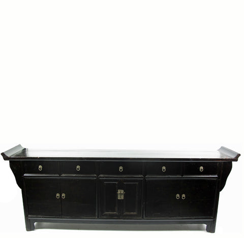 8 ft Long Large Black Altar Sideboard