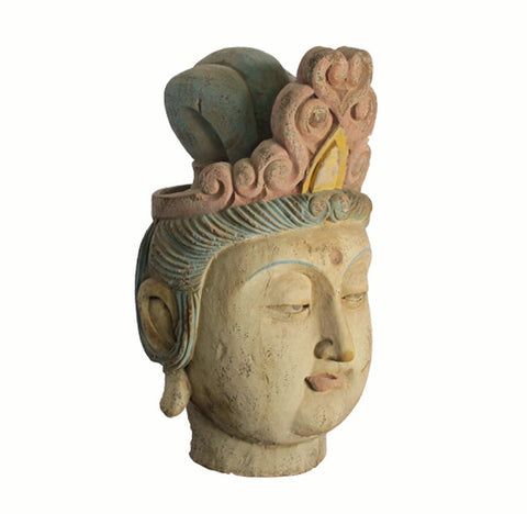 Chinese Wood Guan Yin Head with Muti Color Headdress - Dyag East