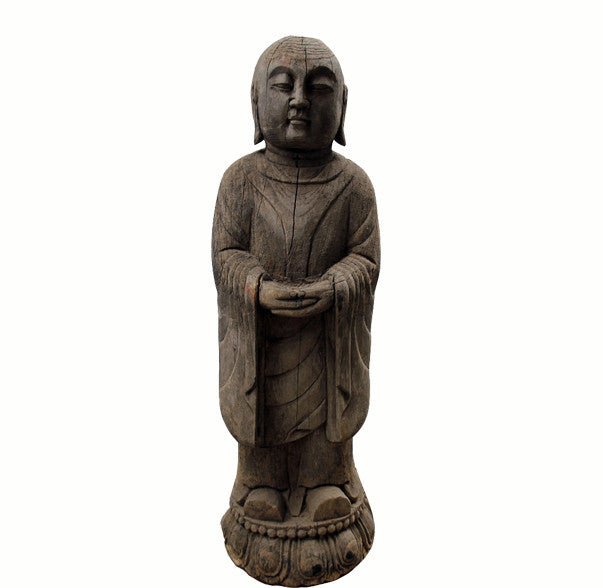 Buddhist Monk Statue with Lotus Stand - Dyag East