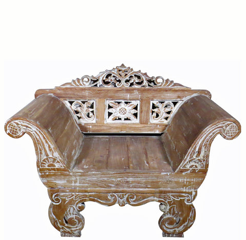 Carved Teak  Balinese Armchair - Dyag East