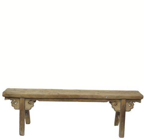 Antique Elm Bench with Spandrels