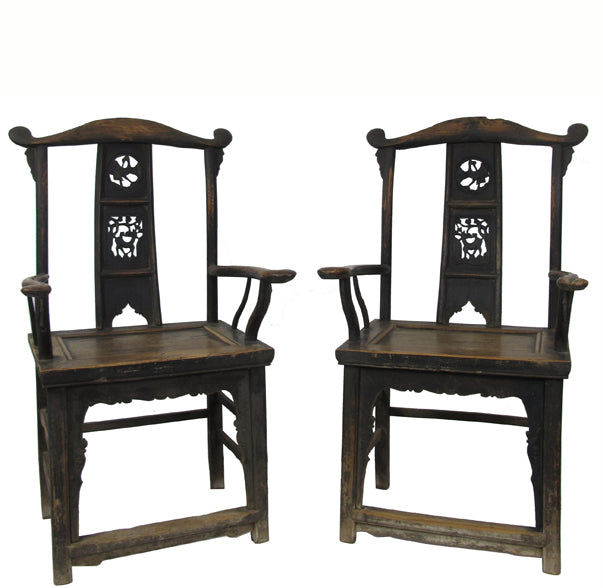 A Pair of Government Official Hat Antique Chinese Armchair