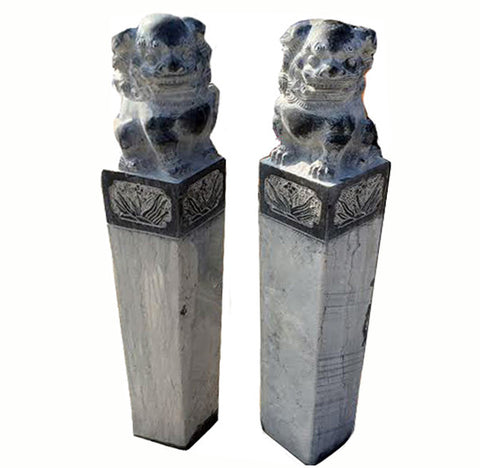 Pair of Stone Foo Dog Gate or Garden Post - Dyag East