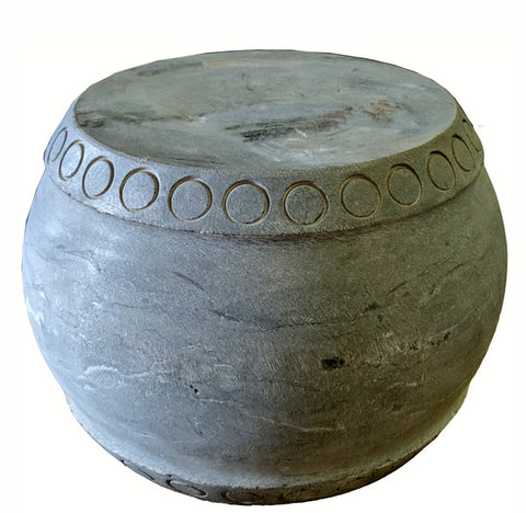 Small Round Stone Pedestal or Stool - Dyag East
