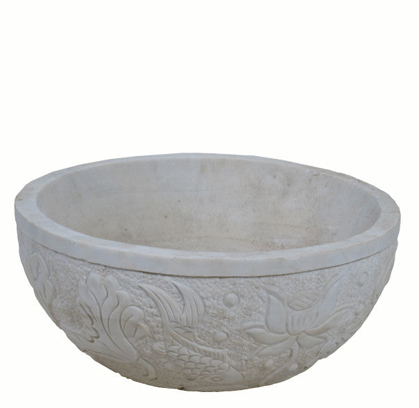 Marble Planter with Hand Carved Fish and Flowers - Dyag East