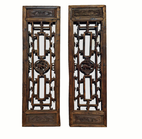 Two Antique Chinese Screen Panels - Dyag East