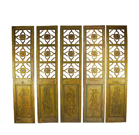 Antique Chinese Four Lucky Keys Wood Screen