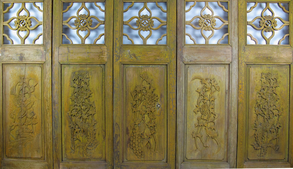 Antique Chinese Four Lucky Keys Wood Screen - Dyag East
