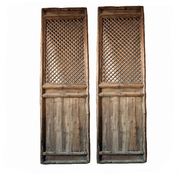 Z-A Pair of Antique Chinese Lattice Wood Screen - Dyag East