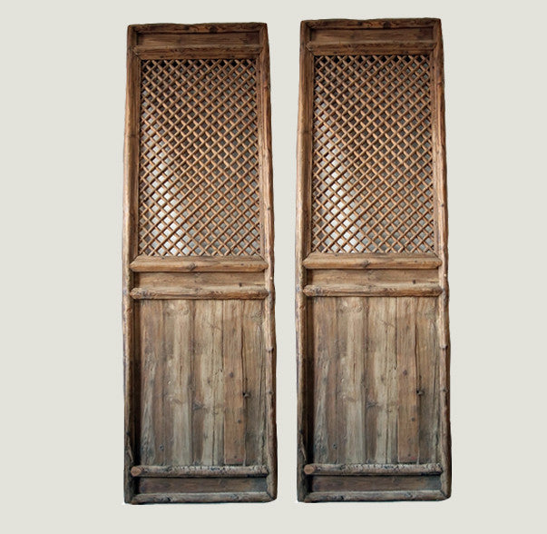 ... A Pair of Antique Chinese Lattice Wood Screen - Dyag East ...