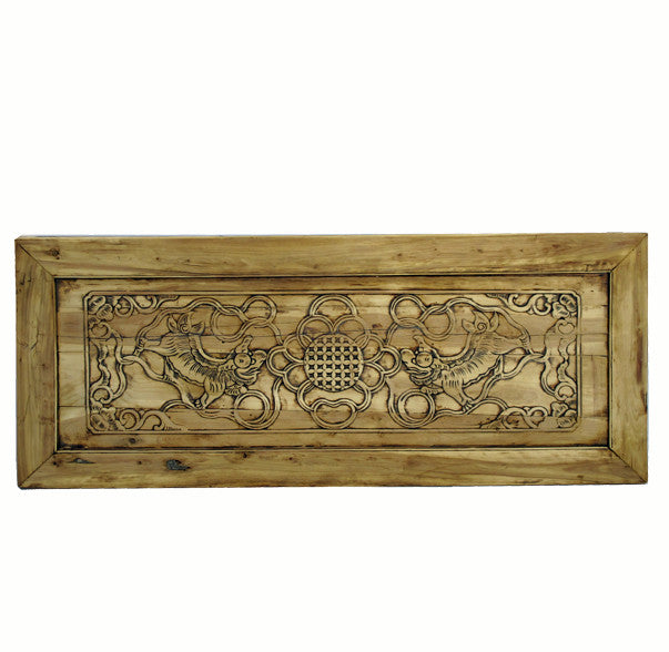 Hand Carved Dancing Lions Wood Wall Hanging Panel - Dyag East