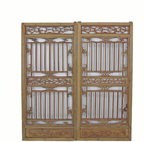 A Pair Antique Chinese Wood Screen Panels