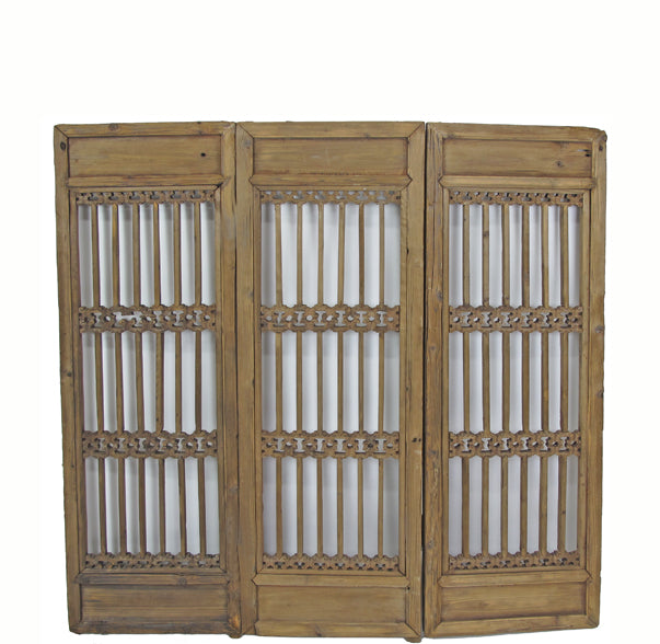 Three Antique Chinese Wood Screen Panels