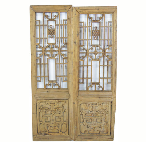 Two Antique Chinese Wood Screen Panels