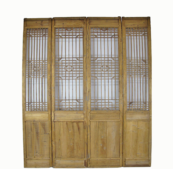 Four 10 ft Tall Antique Chinese Wood Screen Panels