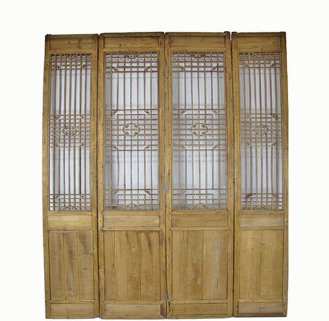 "Four 65"" Tall Antique Chinese Wood Screen Panels"
