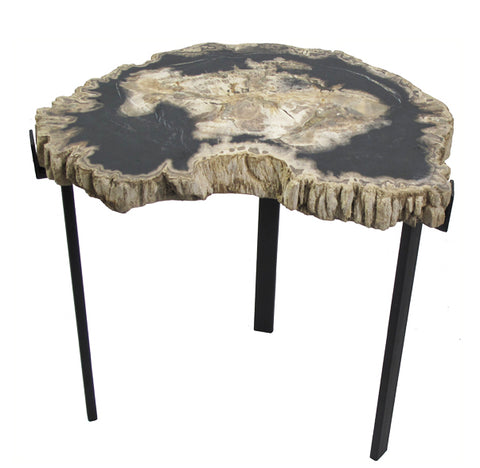 Petrified Wood Top w Iron Stand Accent Table 13 - Dyag East