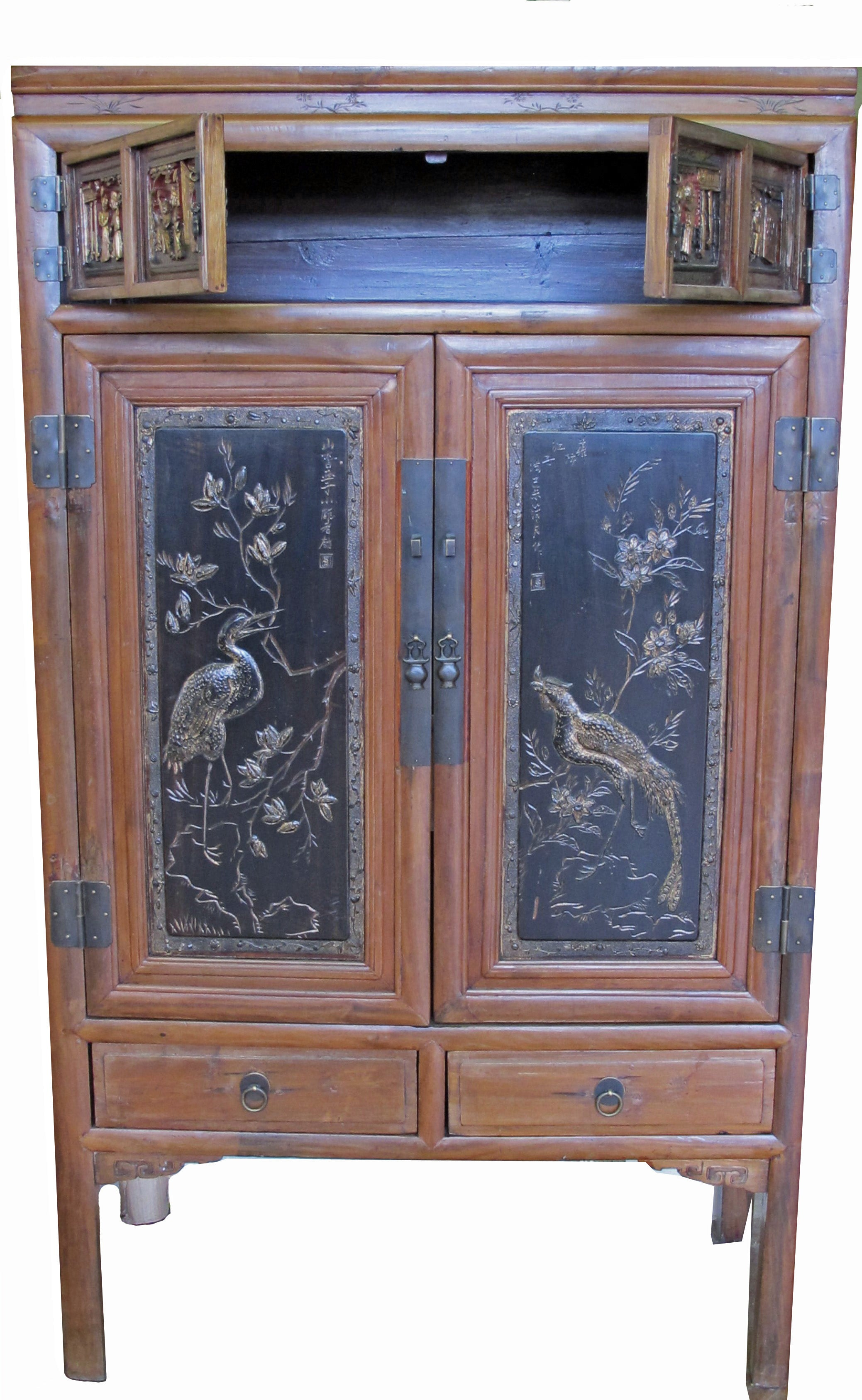 Antique Chinese Cabinet W Two Carved And Hand Painted