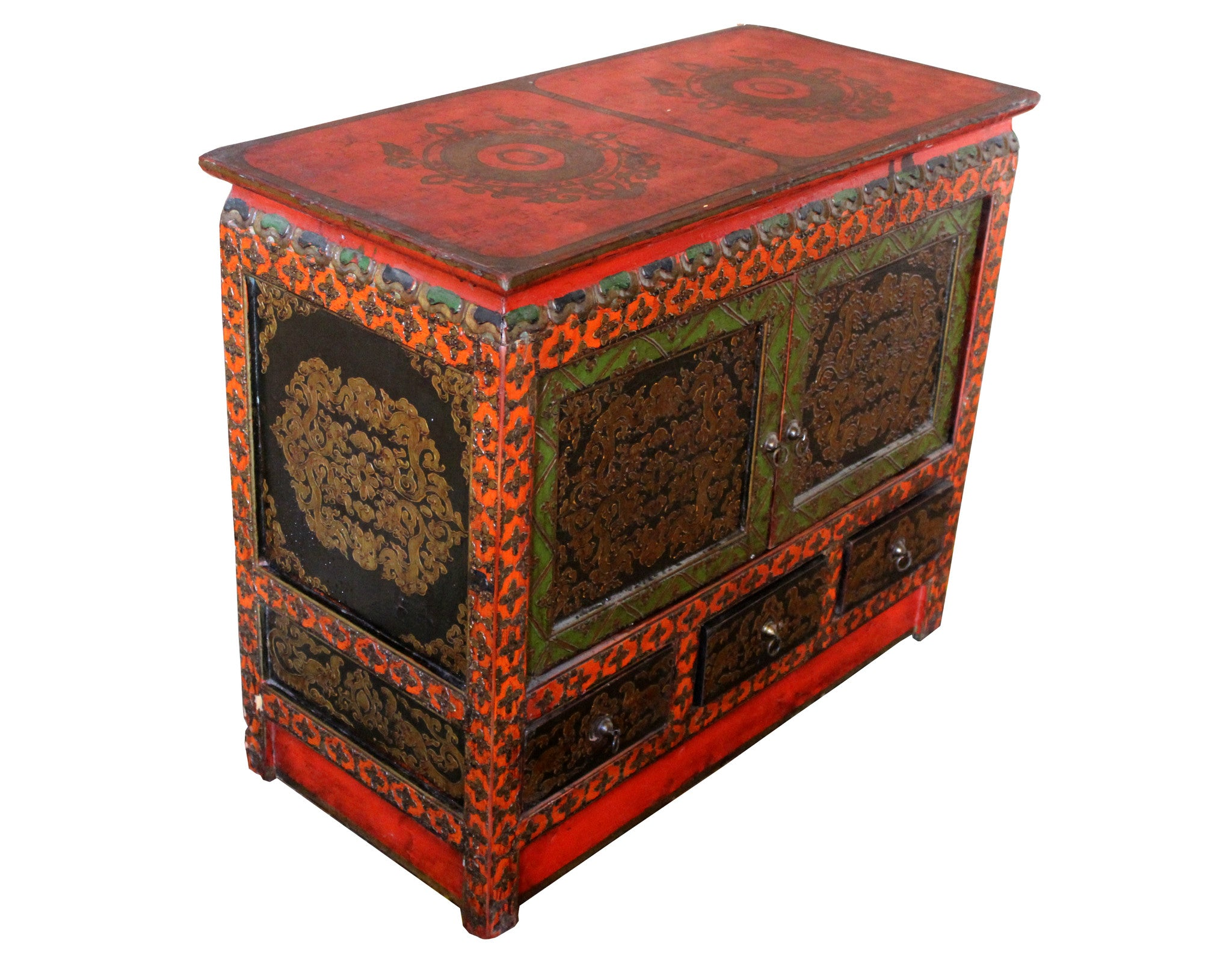 Small Tibetan Cabinet with Embossed Doors and Drawers – Dyag East