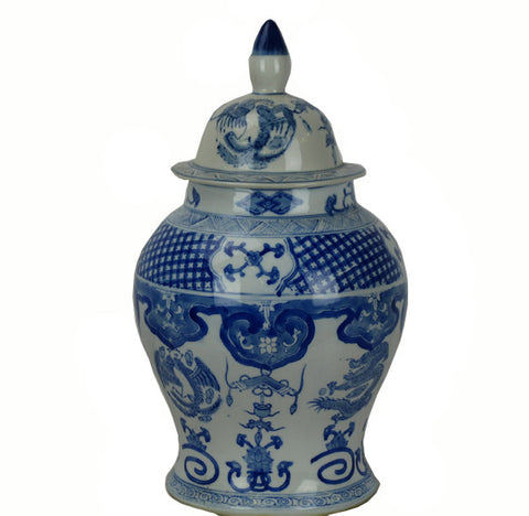 Vintage Large Blue and White Jar with Lid - Dyag East