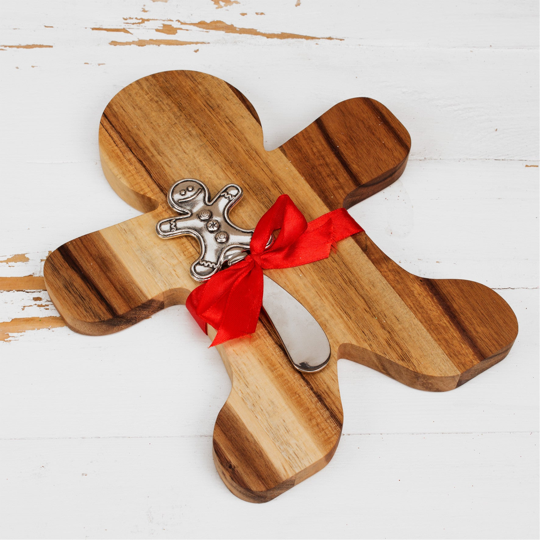 Wooden Gingerbread Man Cheeseboard & Knife Red Bow