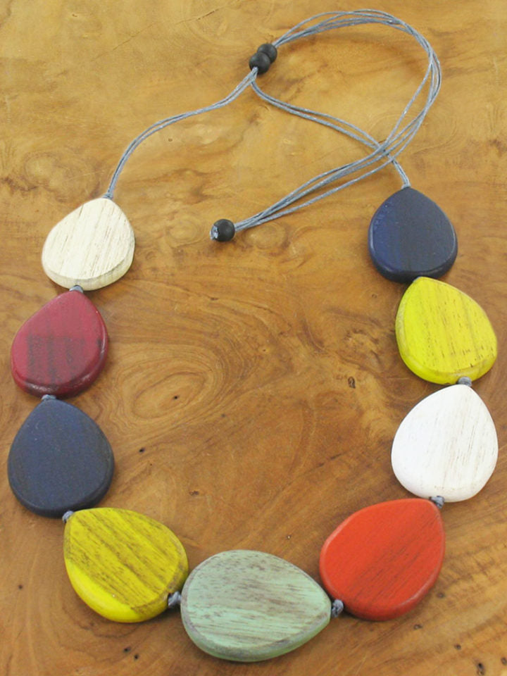 Teardrop Pebble Necklace - Suzie Blue
