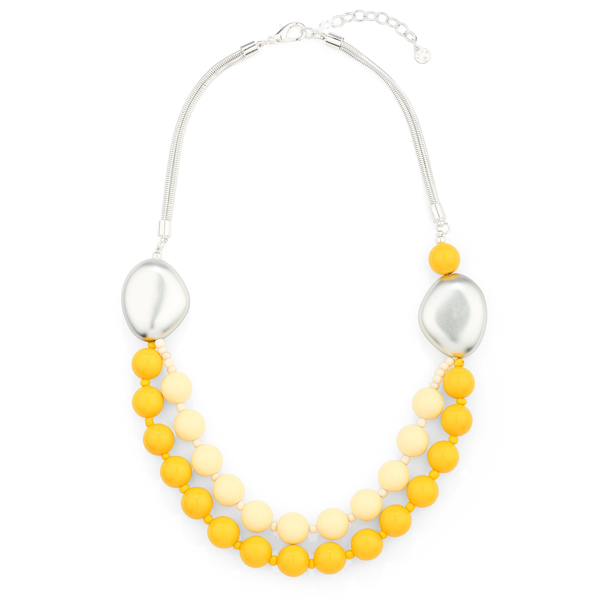 Double Silver with Yellow Chain Necklace - JCUK