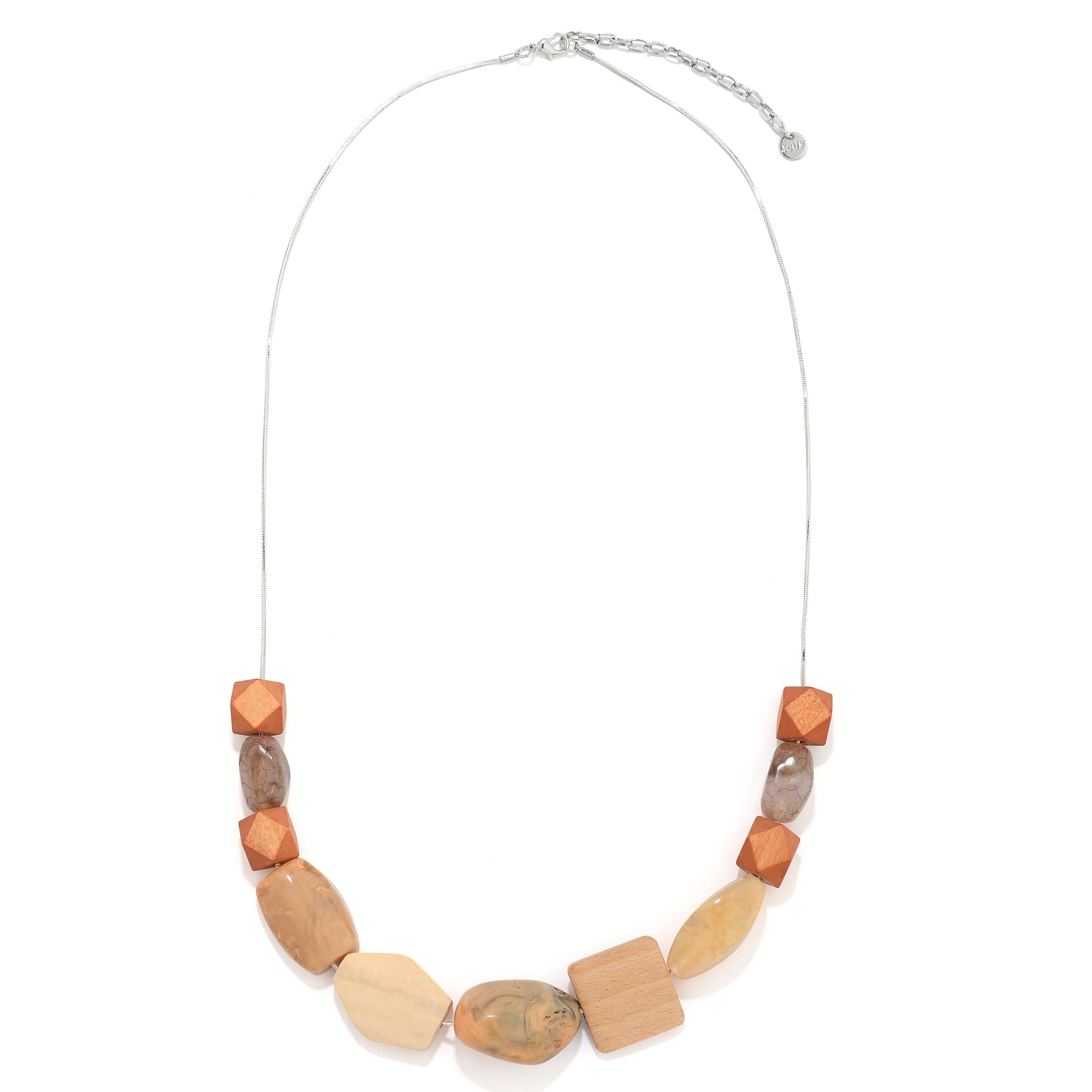 Silver Chain Geo Resin/Wood Necklace - JCUK