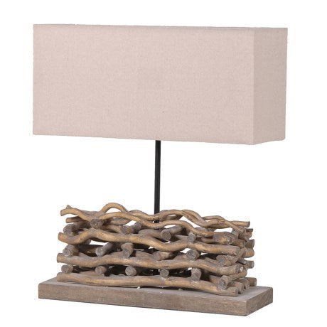 Small Stacked Twig Lamp with Shade