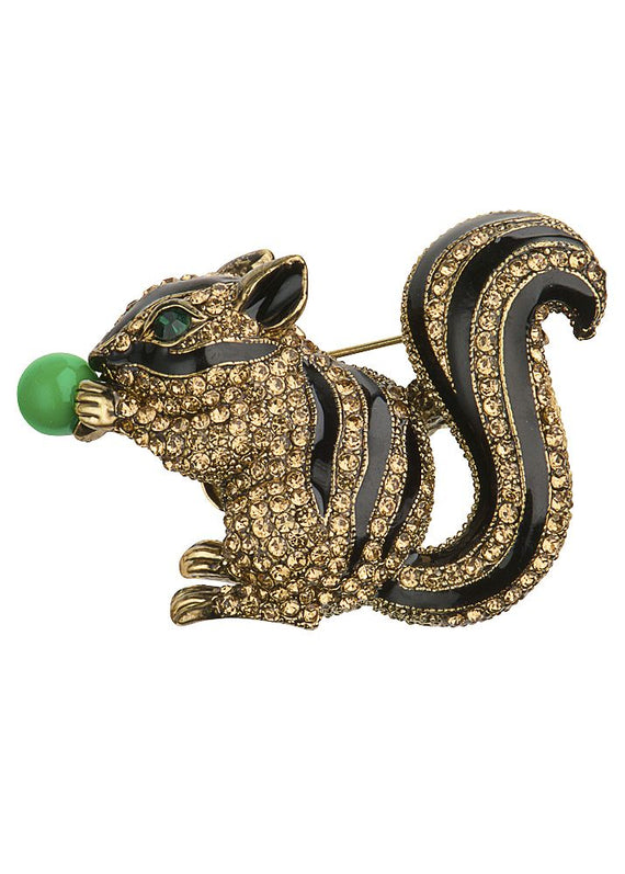 Golden Crystal Squirrel Hairclip or Broach