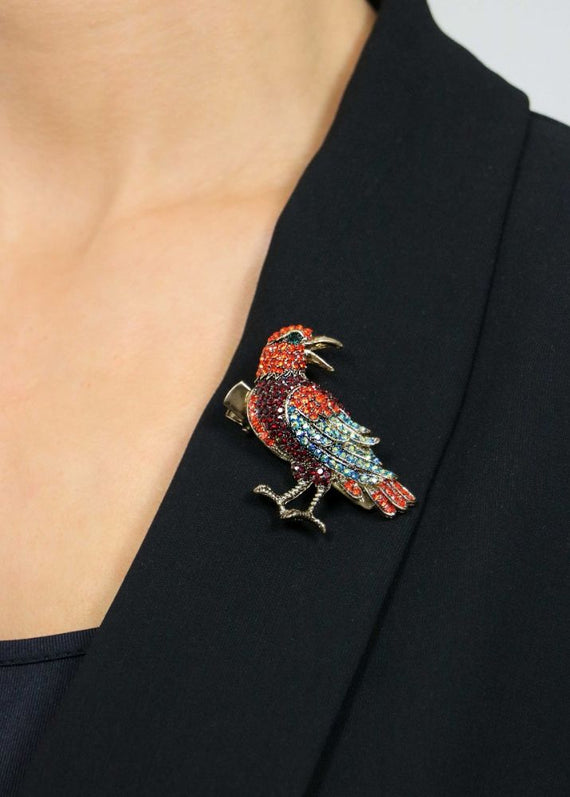 Tropical Parrot Brooch & Hairclip