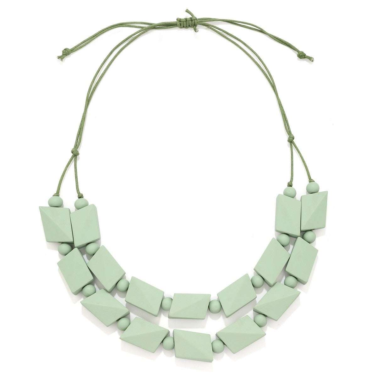 Wood Necklace - Green