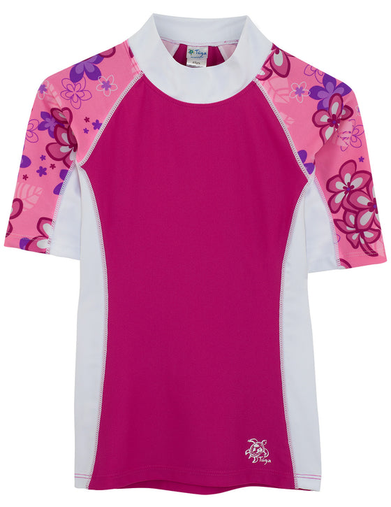 UV50+ Seaside Short Sleeve Rash Guard-Cotton Candy