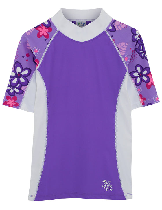 UV50+ Seaside Short Sleeve Rash Guard-Violet