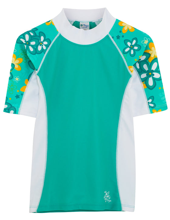 UV50+ Seaside Short Sleeve Rash Guard-Seafoam