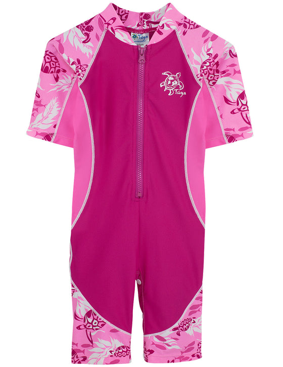 UV50+ Girls Lowtide Short Sleeve Sunsuit-Cotton Candy