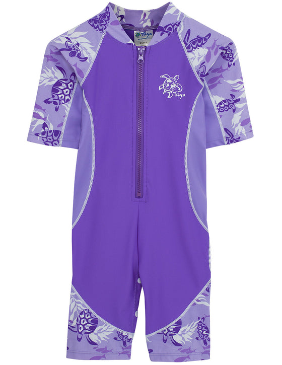 UV50+ Short Sleeve Lowtide Sunsuit-Amethyst Purple