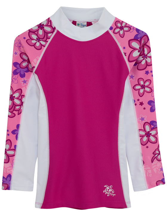 UV50+ Shoreline Long Sleeve Rash Guard-Blossom Pink