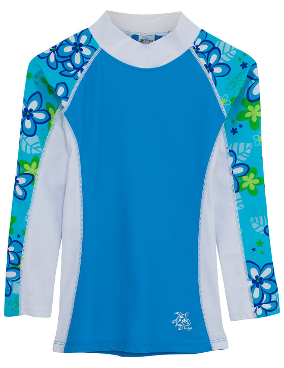 UV50+ Shoreline Long Sleeve Rash Guard-Aquamarine