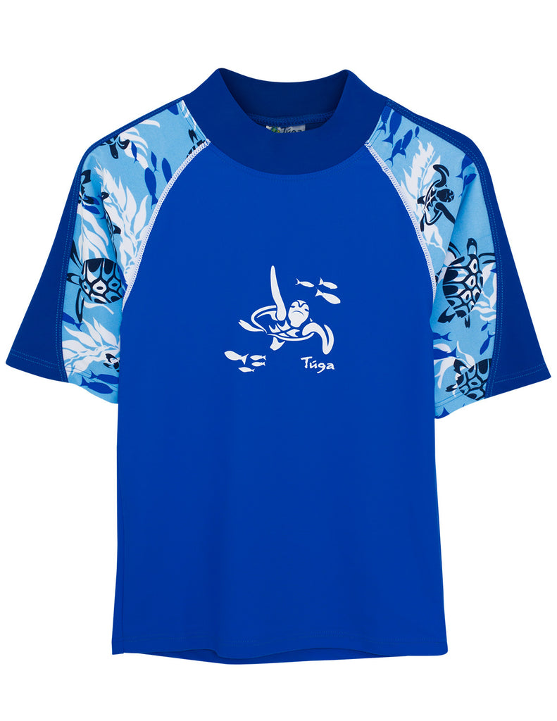 UV50+ Offshore Short Sleeve Rash Guard-Blue
