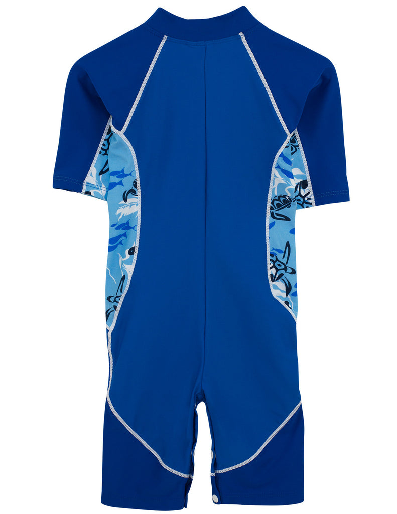 UV50+ Boys Short Sleeve Lowtide Sunsuit-High Sea Blue