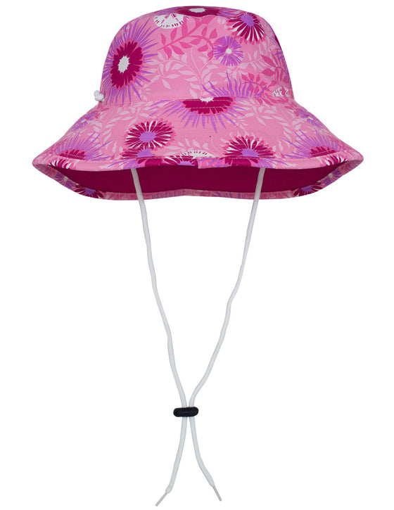 UV50+ Reversible Bucket Sun Hat-Floral/Carnation