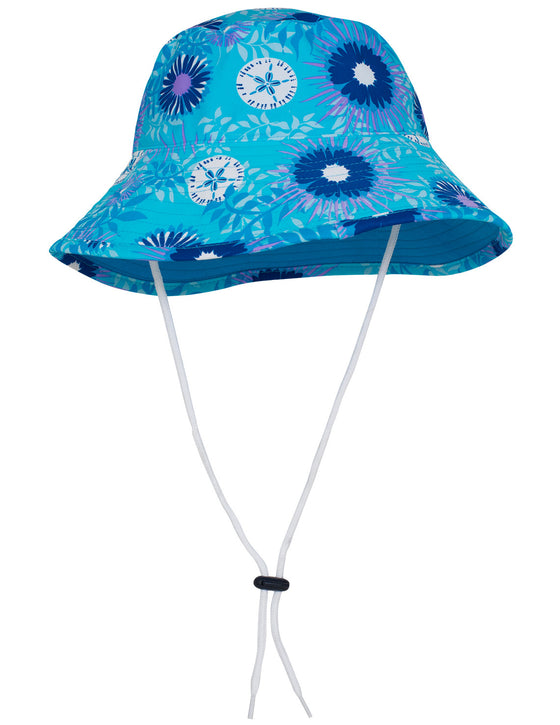 UV50+ Reversible Bucket Sun Hat-Floral/Periwinkle Blue