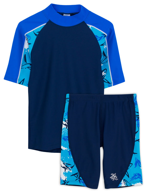 UV50+ Breaker Swim Shirt & Jammers-Laguna Blue