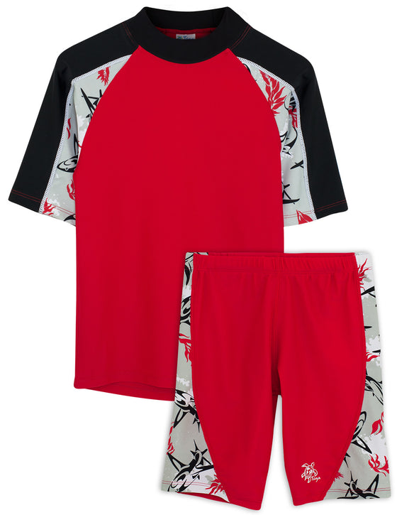 UV50+ Breaker Swim Shirt & Jammers-Carmino Red